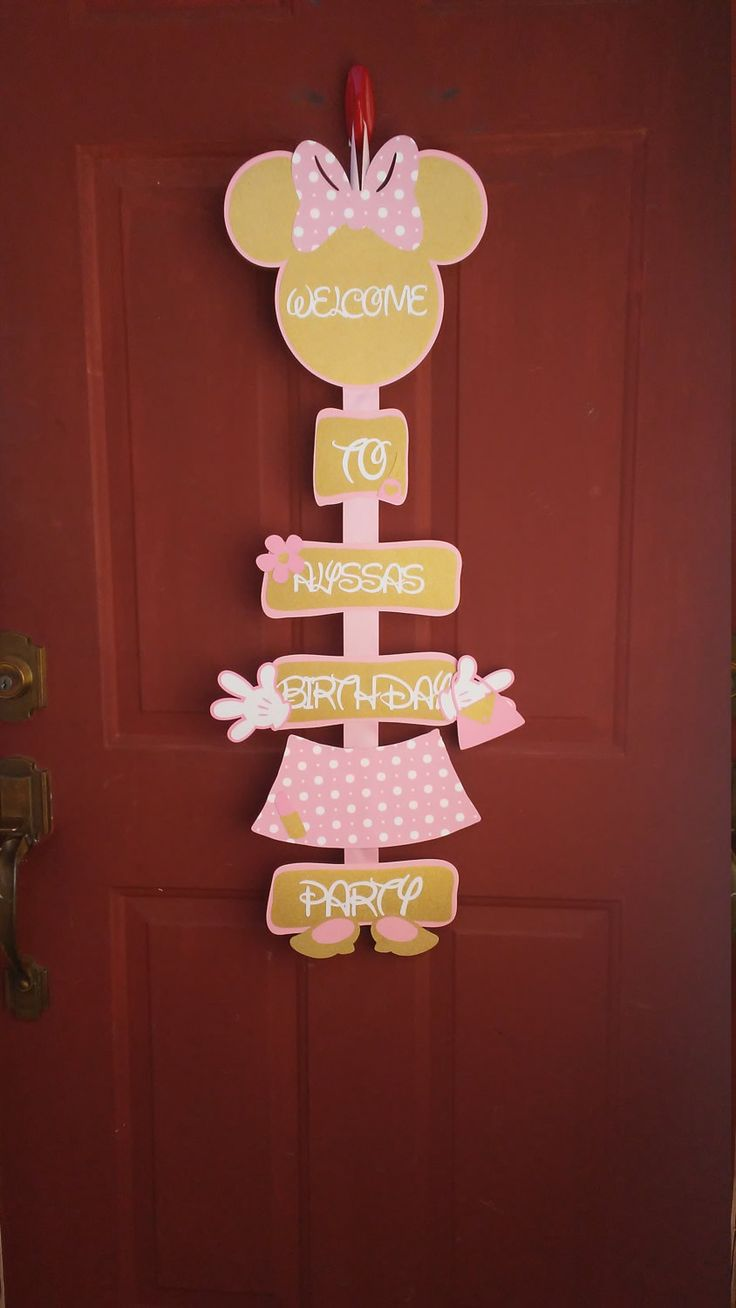 Minnie Mouse Light, Pink and gold Door Sign,Minnie Mouse party decorations, Minnie Mouse Birthday Door Sign by CnCpartycreations on Etsy
