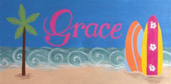 Surfboard art beach art  Custom painting by CarrieSweeneyArt, $75.00