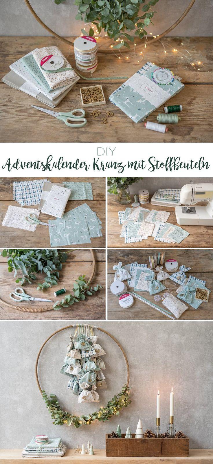 DIY Adventskalender Kranz mit Stoffbeuteln (mit Bildern