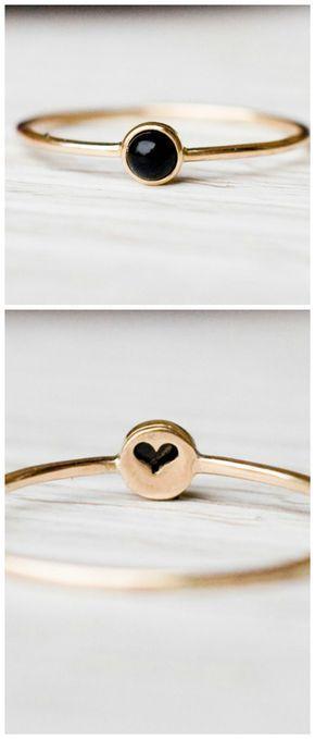 Delicado anillo de oro con piedra de ónice, ideal como anillo de compromiso / anillo de compromiso para t   – dies und das…