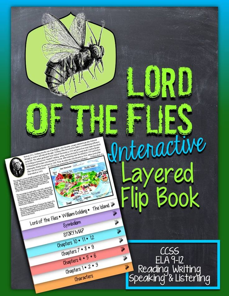 Lord of the Flies: Interactive Layered Flip Book. ready for you to easily assemble. Formatted so you will have to make one fold! Includes: -Each chapter has study guide questions to fill In and teacher answer key -Characters chart fill in and answer key -Symbols chart fill in and answer key -British Writer, William Golding • Map of The Island • Background -Aligned and Outlined ELA CCSS, 9-12 Reading, Writing, Speaking and Listening