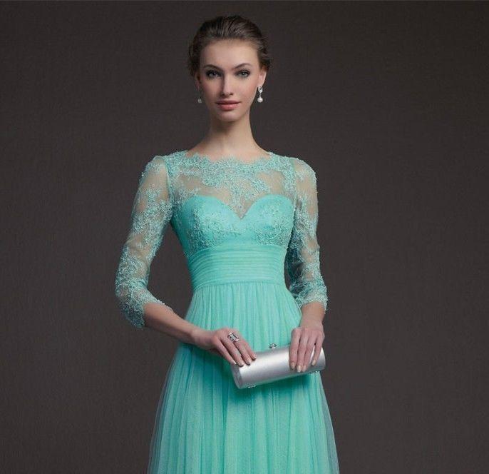 3311bb3ba574 New Jewel Chiffon Langarm- formale Abend- Kleid-Abschlussball -Kleider    eBay