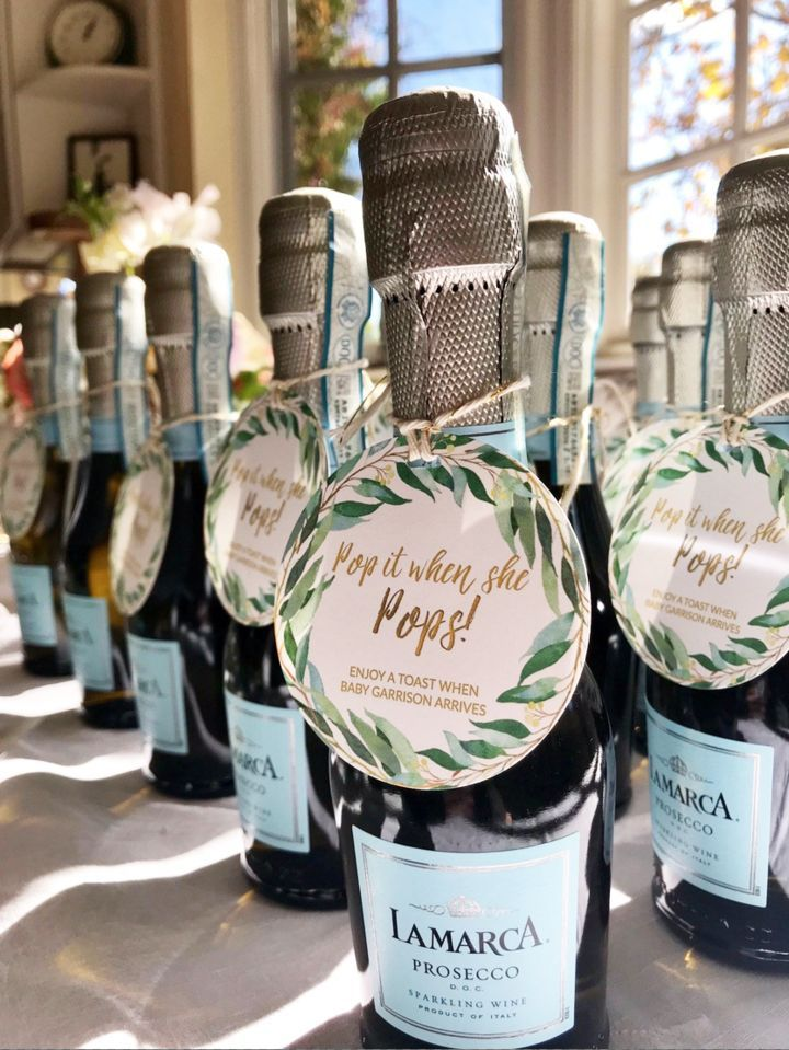 Tied around mini bottles of champagne or gourmet popcorn, these personalized baby shower tags really make your favors POP! Pop It When She Pops Baby Shower Tags. Custom requests welcome! Fast service, made to order, handmade in USA.