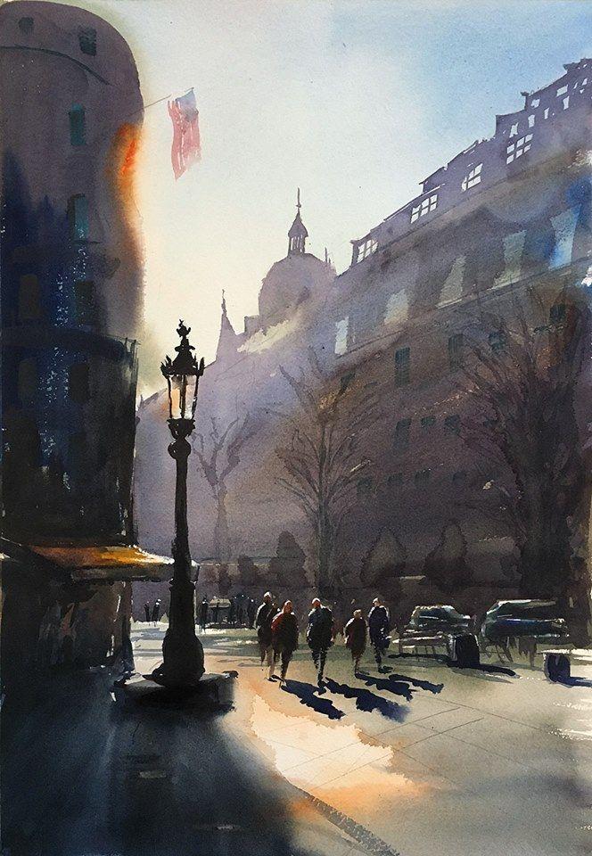 Stefan Gadnell, akvarell. Stureplan, 2016. SOLD