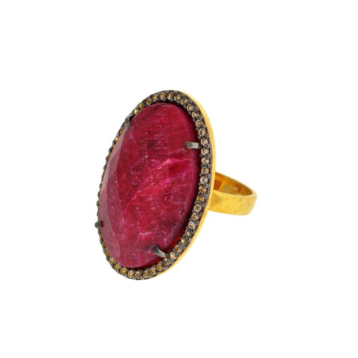 Red Stone and CZ Ring