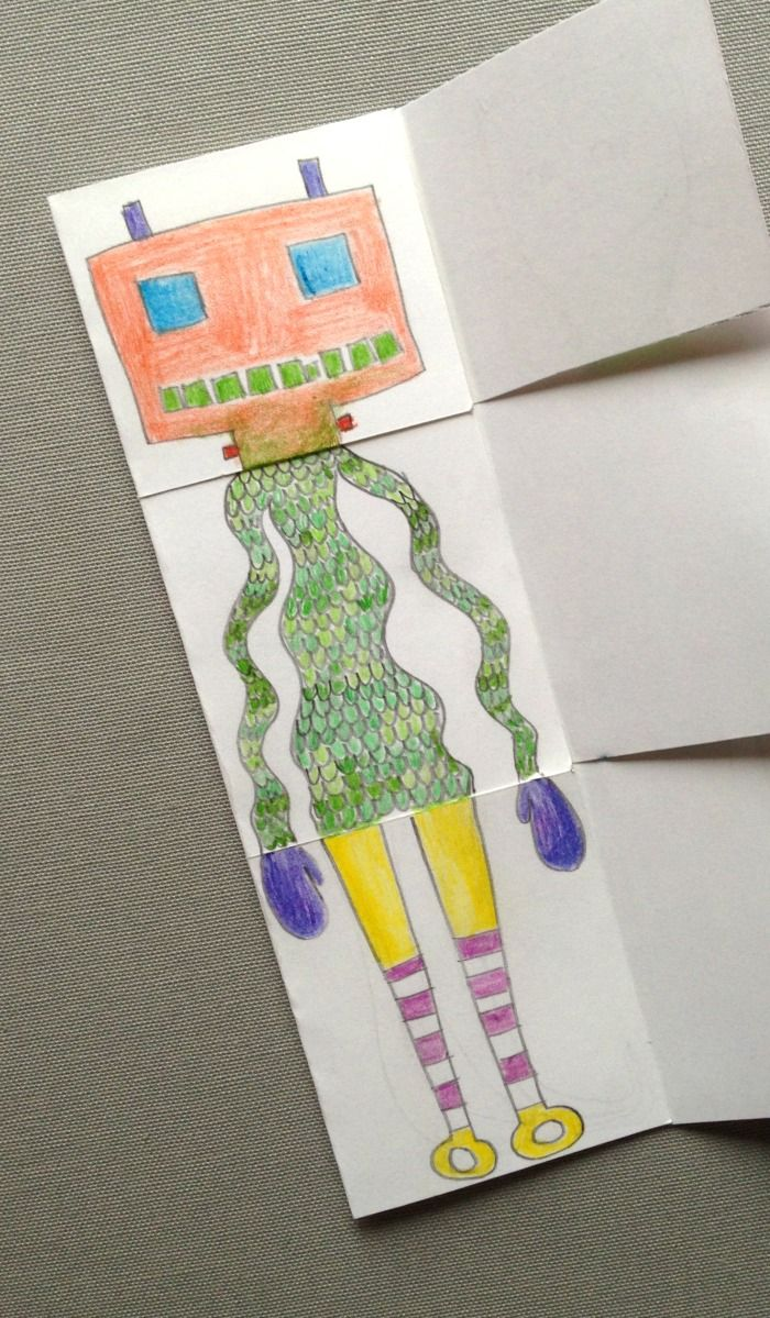 great #drawing or #craft idea from http://tinyrottenpeanuts.com/ : exquisite corpse drawing game for kids