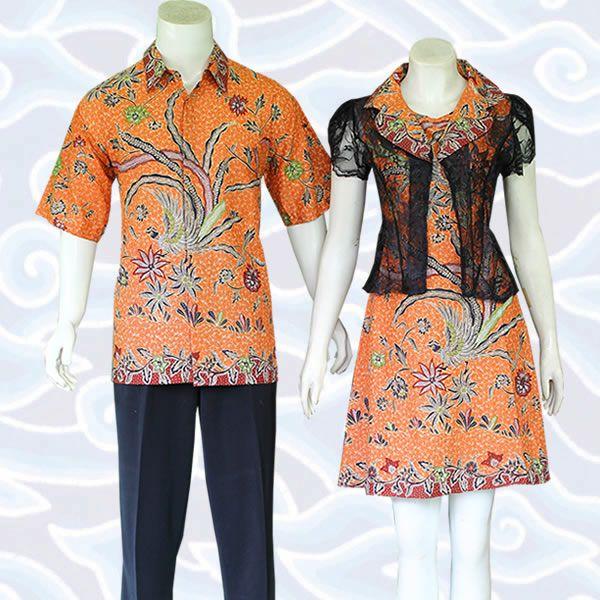 batik couple orange SB222 di http://sekarbatik.com/batik-sarimbit-couple/