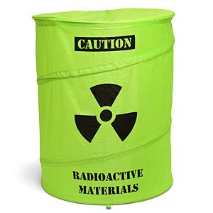 I have an actual hazardous materials bin from a doctor's office that I use as a trash can. I feel like this would coordinate well.