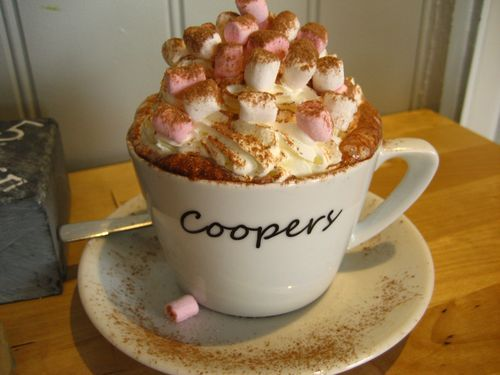Hot chocolate with all the trimmings from Coopers in Skipton, UK.