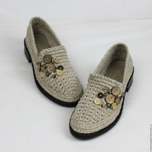 Обувь ручной работы. Ярмарка Мастеров - ручная работа. Купить Туфли лоферы льняные вязаные. Handmade. Бежевый, экологичная обувь