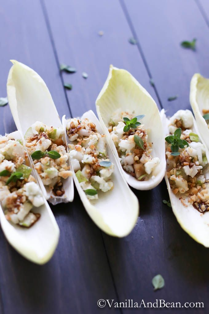 Endive with pear and blue cheese makes an elegant appetizer for any special event or gathering. It's easy to make and tastes delicious!
