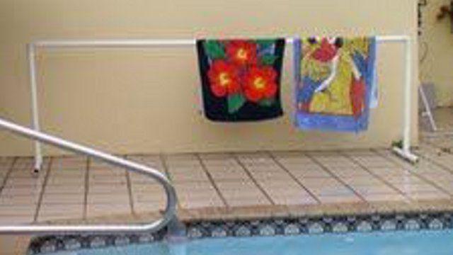 Build a PVC Pool Towel Rack -- freestanding dress-up station