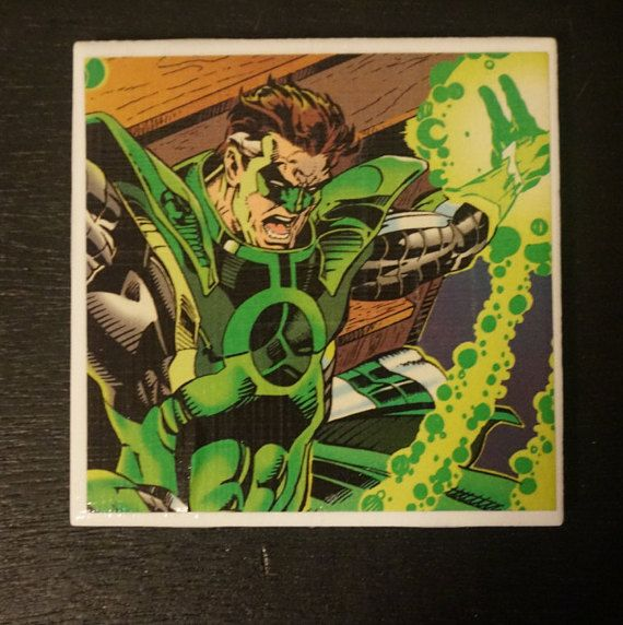 Green Lantern Themed Upcycled Real Comic Book Coaster