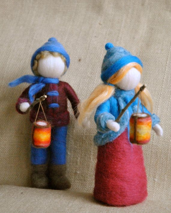 Waldorf inspired needle felted Children The Lantern by MagicWool