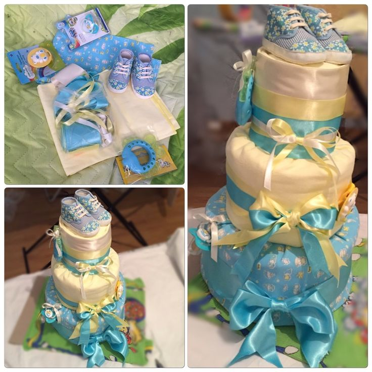Торт из памперсов! Подарок на рождение ребенка!