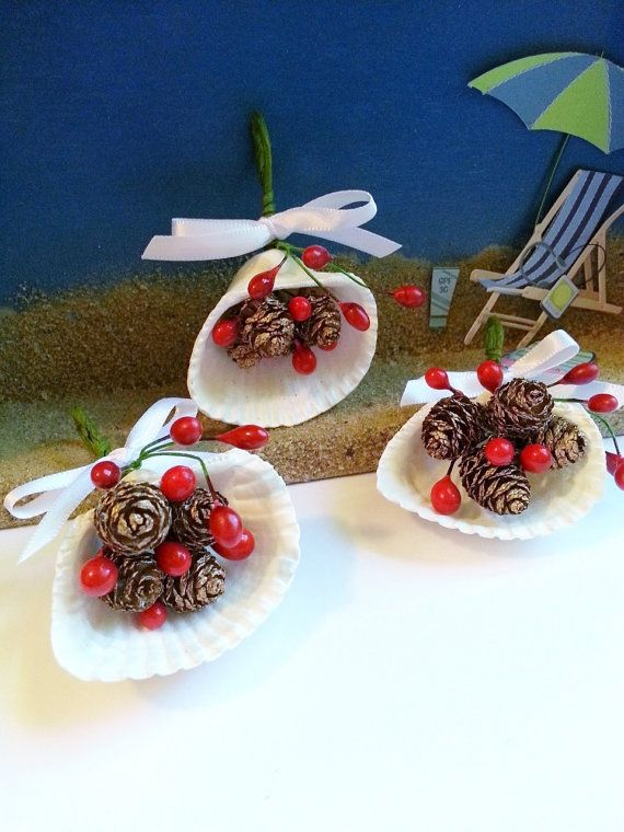 Seashell Christmas ornaments coastal tree decorations holiday decor painted clamshells with holly and pinecones