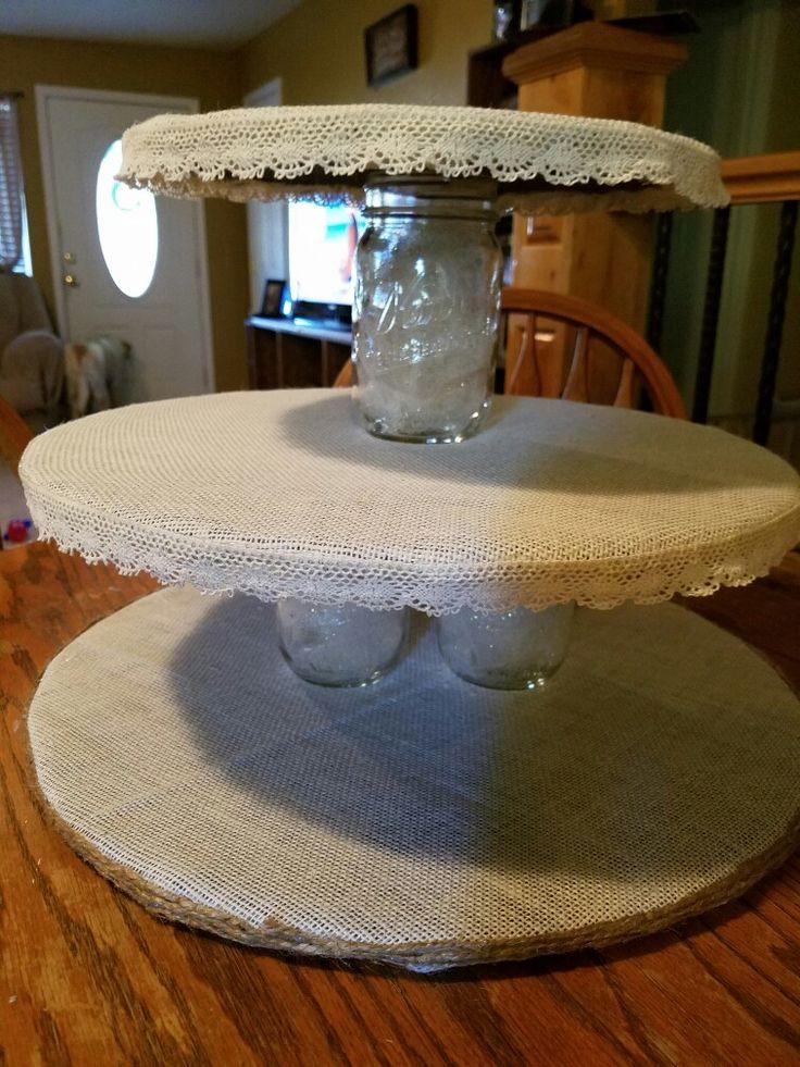 Rustic cupcake stand Foam board, burlap, twine, lace, mason jars, and tole....hot glue gun