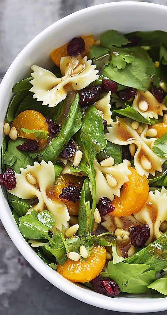 Mandarin pasta spinach salad with teriyaki dressing.