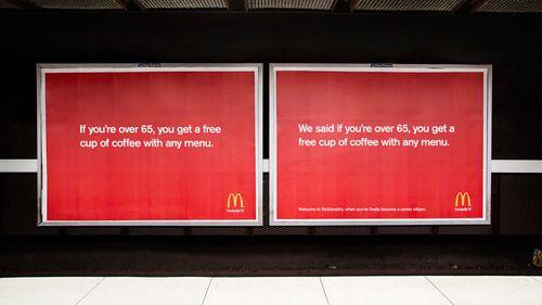 """""""If you're over 65, you get a free cup of coffee with any menu.""""  """"We said if you're over 65, you get a free cup of coffee with any menu.""""  En nu duimen dat de doelgroep ook gevoel voor humor heeft …  Door DDB Stockholm voor McDonald's."""