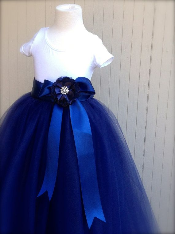 Items Similar To Navy Blue Flower Girl Tutu Sewn Long Tulle Skirt For Princesses With Sash Variations In Colors