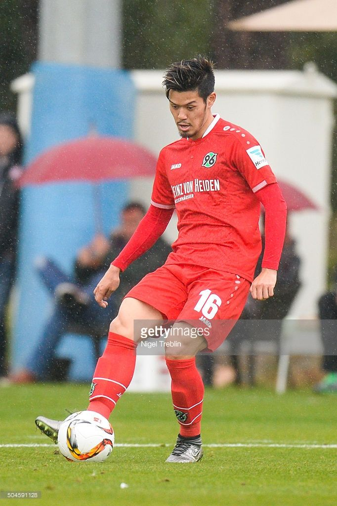Hotaru Yamaguchi of Hanover controls the ball during a friendly match between Hannover 96 and SV Wehen-Wiesbaden during Hannover 96 training camp on January 11, 2016 in Belek, Turkey.