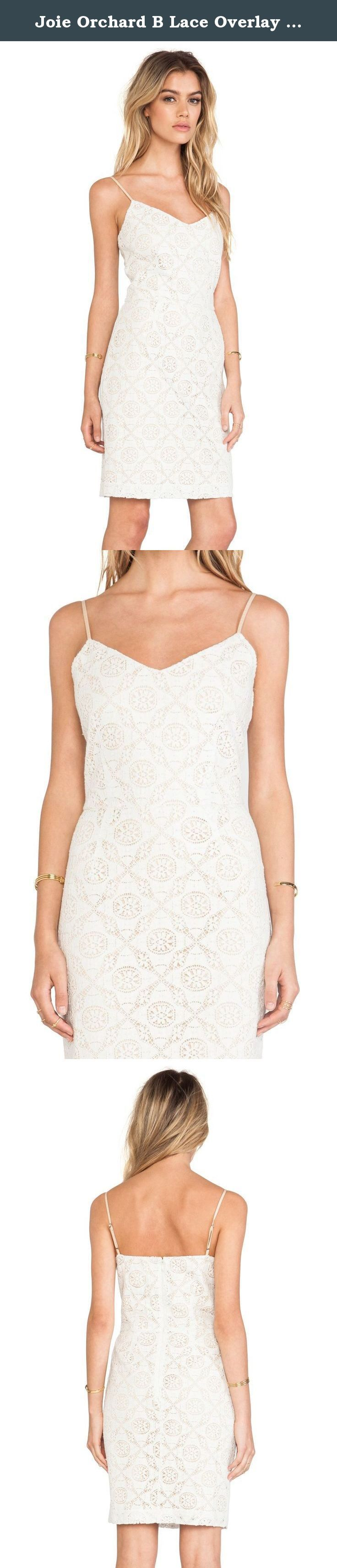 Joie Orchard B Lace Overlay Off White Dress Size Large. 100% Cotton Crochet overlay dress in off white or beige color. Rear zip and fully adjustable shoulder straps. Hits just about the knee.
