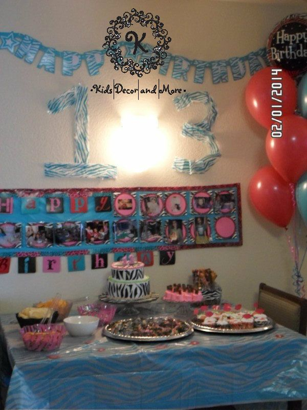 Diy banner for birthday food with zebra theme birthday for 13th birthday decoration ideas