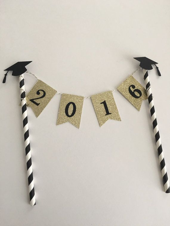 This listing is for a classy black and gold graduation cake bunting. The pennants are in gold glitter cardstock (white on the back).  This