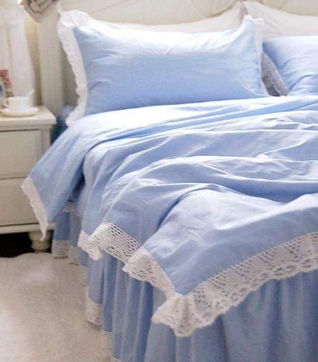 Sky Blue Solid Color Cotton Bedding Sets Princess Duvet