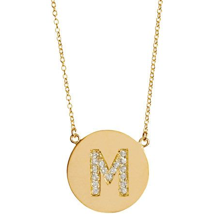 "Love this Jennifer Meyer pendant necklace. (Often seen on Kourtney Kardashian in ""M"" and ""P"" for her children Mason and Penelope). So cute!"