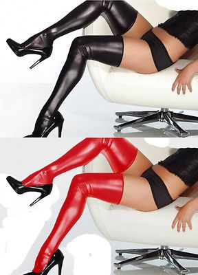 Fashion Sexy Women Long Spandex Latex Rubber Stockings Thigh High Tights Hosiery