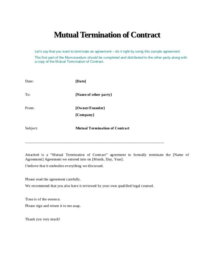mutual agreement contract doc business termination letter