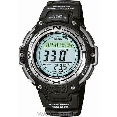 This model looks like a mini Pro Trek, and features 200 metre water resistance, thermometer, direction sensor and temperature sensor.