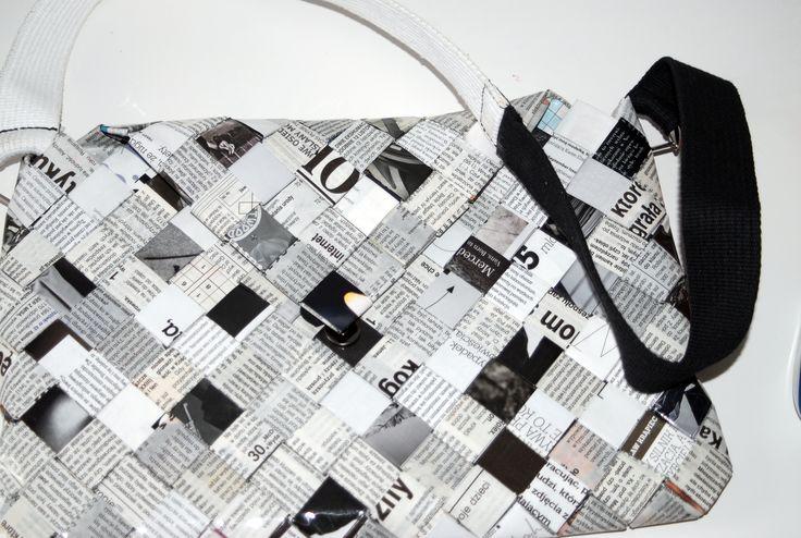 Torebka damska czarno-biała z czasopism