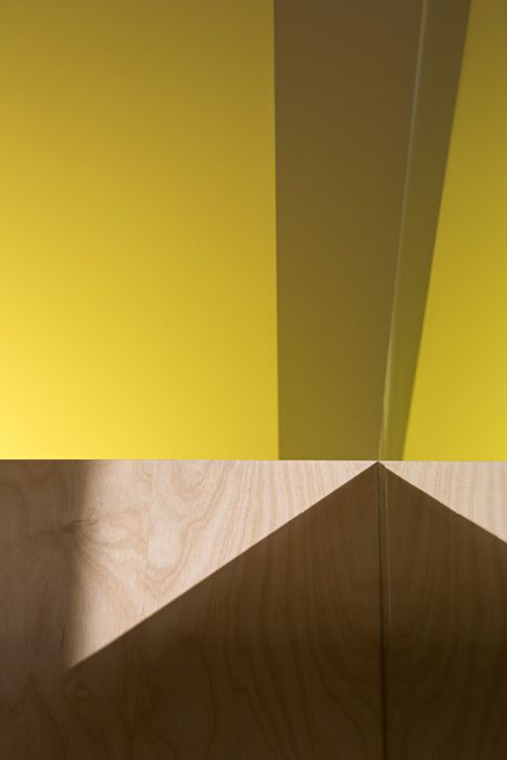 Contrasting yellow ceiling and timber walls - Aperture House  TWOFOLD STUDIO/COX RAYNER ARCHITECTS