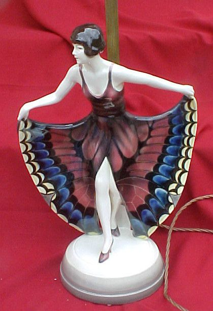 Rare Art Deco Lorenzl Goldscheider Wein Dramatic Butterfly Girl Lamp Circa 1926  Original Metal Work Lamp Can Be Adjusted To 33 Inches !