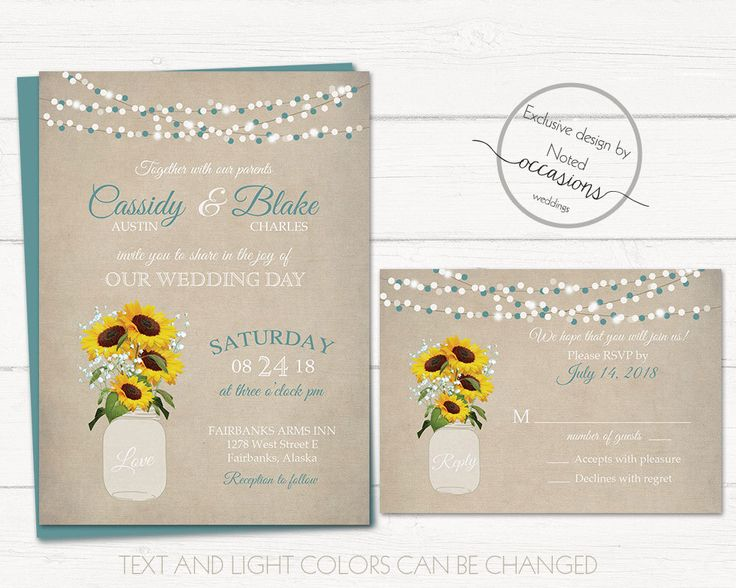 Rustic Sunflower Wedding Invitation Printable, Mason Jar Wedding Babys Breath Sunflowers Teal Country Wedding Custom DIY Template Set by NotedOccasions on Etsy https://www.etsy.com/listing/267909331/rustic-sunflower-wedding-invitation