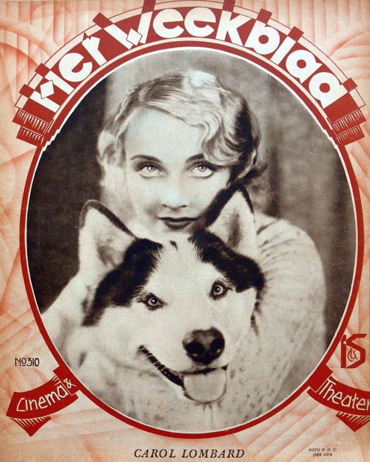 Carole Lombard with her pet Husky dog on the cover of the Belgian magazine Het Weekblad in 1930