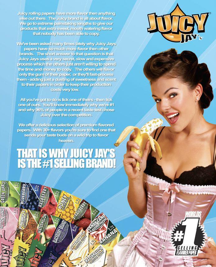 Δεν είναι τυχαίο που είναι #1 σε πωλήσεις στον κόσμο.Τα χαρτάκια Juicy Jay's παρασκευάζονται μόνο από φυσικά υλικά και δεν περιέχουν χημικές ουσίες.Έχουν καταπληκτικό άρωμα και γλυκιά γεύση που θα αισθανθείτε στα χείλη σας. Επίσης η κάθε γεύση έχει διαφορετικό σχέδιο στα χαρτάκια.Τα καλύτερα αρωματικά χαρτακια στον κόσμο.