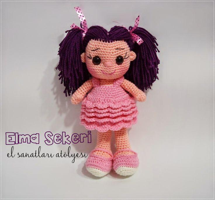 Elma Şekeri El Sanatları Atölyesi: Mor Saçlı Bıcırık / Amigurumi Bebek