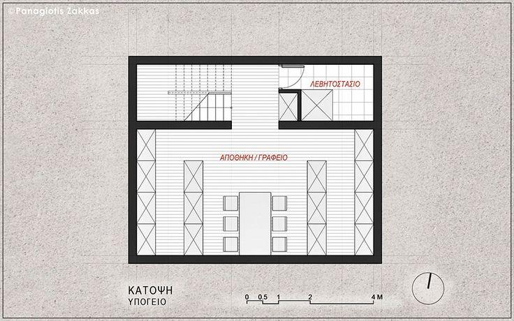 Low-Cost Standardised House 90 sqm, Basement Floor Plan - www.pzarch.gr