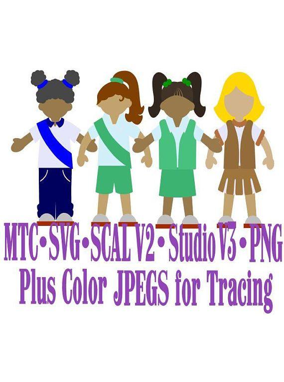Paper Doll Bundle of 4 Girls in Uniform Cutting File SCAL v2
