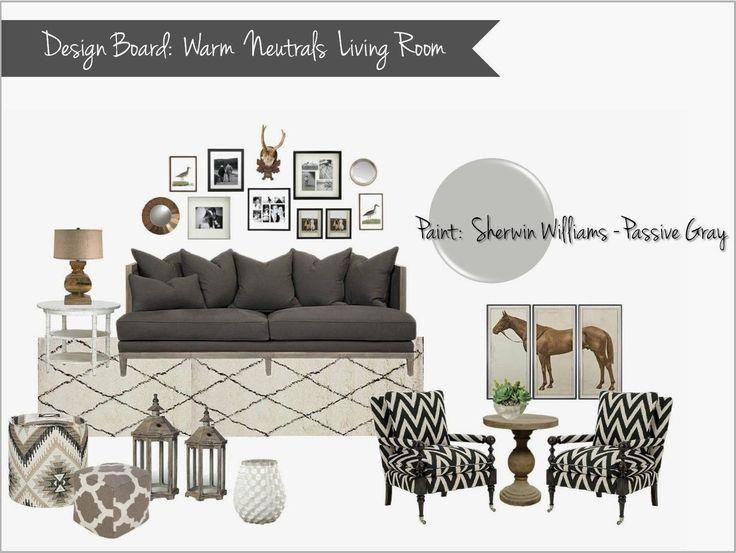 Interior design mood board warm neutral living room gray for Neutral gray living room