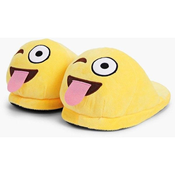 Boohoo Tongue Winky Emoji Soft Slippers (355 MXN) ❤ liked on Polyvore featuring shoes and slippers