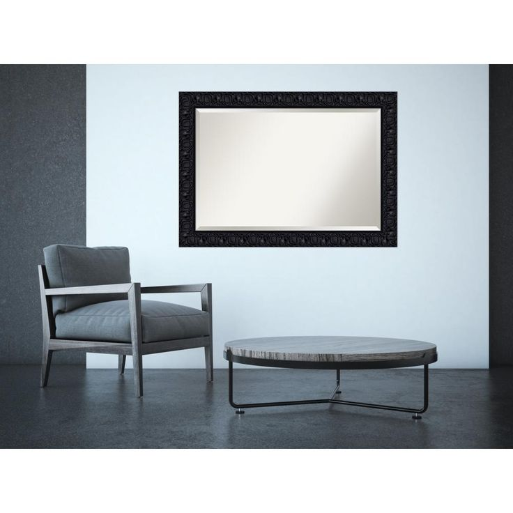 Black Luxor Wood 42 in. x 30 in. Contemporary Framed Mirror