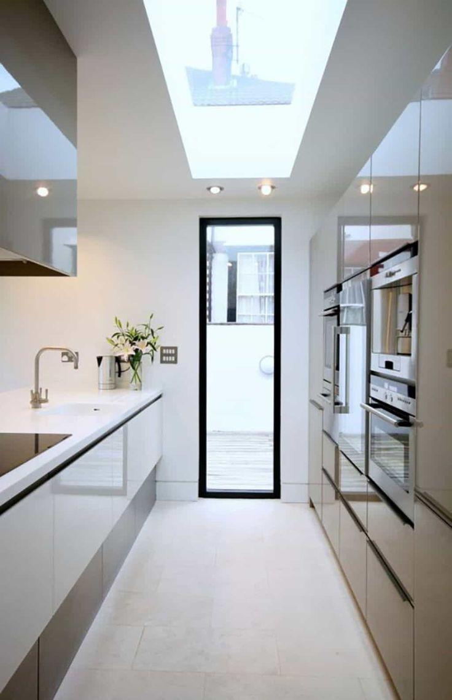 Modern Galley Kitchen With Skylight