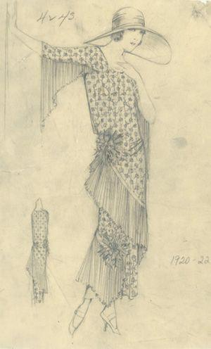 Berley Studios fashion sketch, c.1920-1935