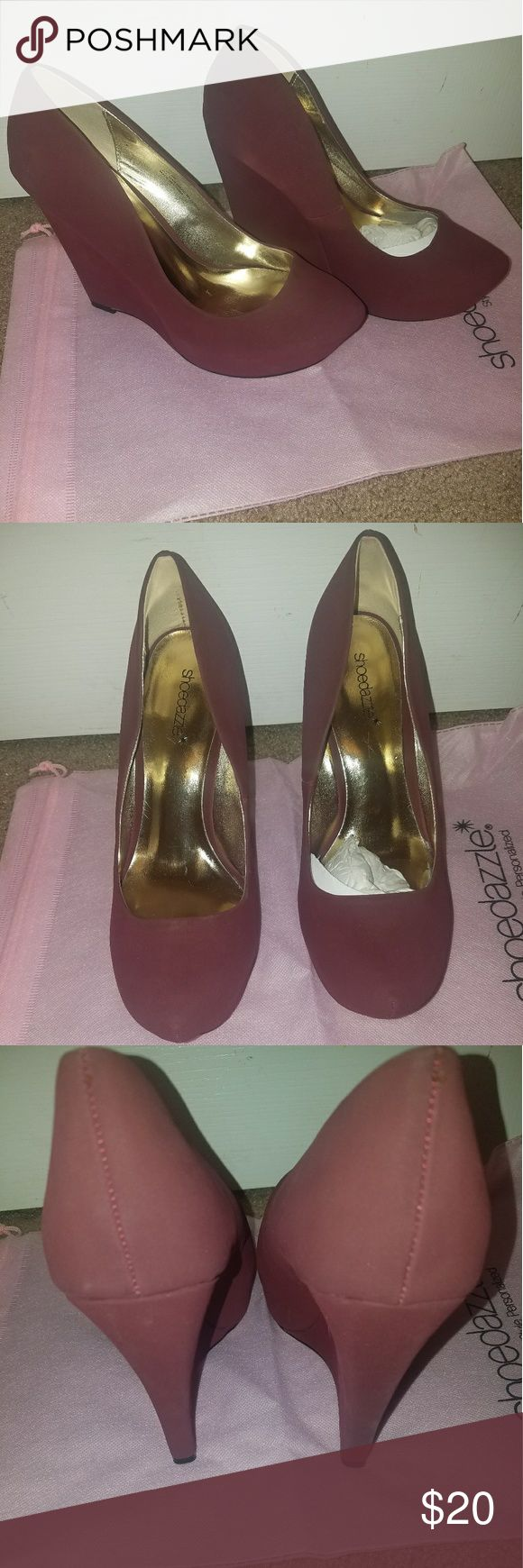 Shoe Dazzle Burgundy Wedge Heels Worn once out to dinner. Heel 5 inches. Platform 1 inch. They have been stored in their box. Dustbag included. Shoe Dazzle Shoes Wedges