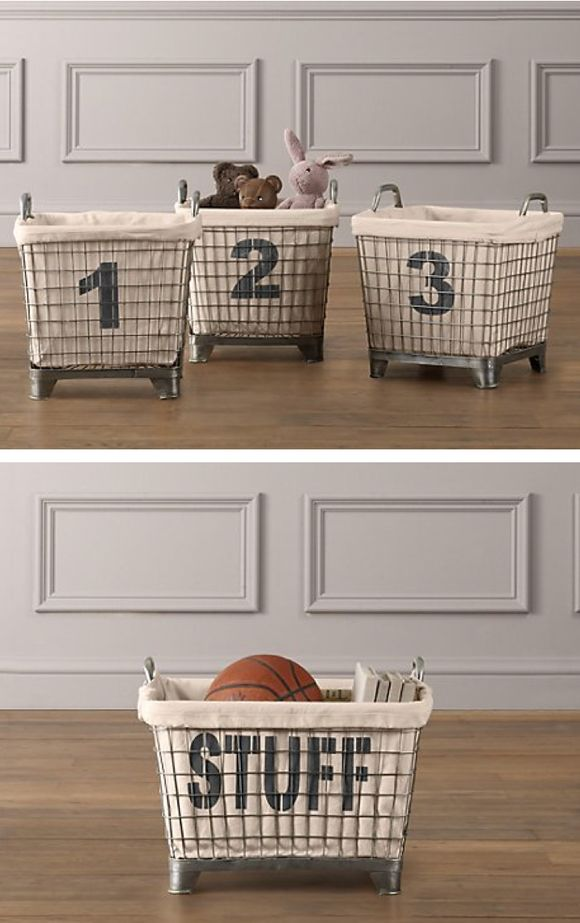 could totally do this by sewing cheap drop cloth and using wire baskets