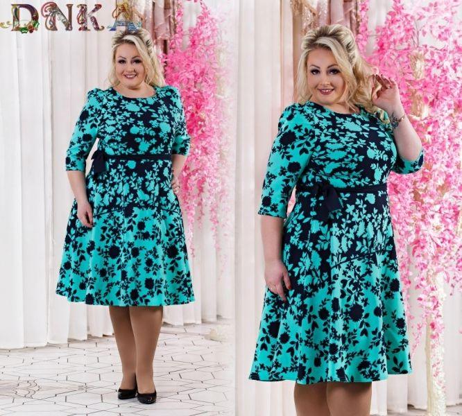 Модное платье с орнаментом короткий рукав ,большого размера